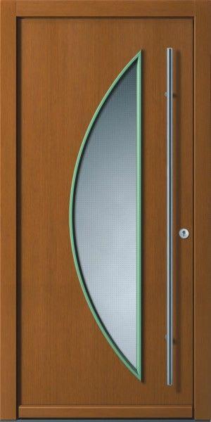 16 Holzhaustür brau mit Hellgrünem Glas Halbkreis