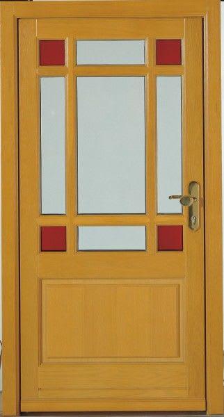 20 Holzhaustür Senfgelb mit roten Vierecken und Glasrechtecken
