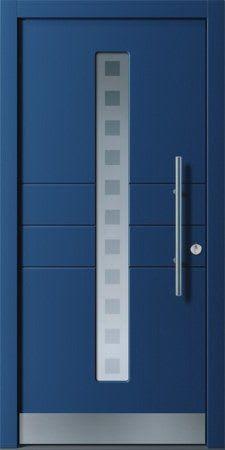 26 Haustür dunkelblau mit Glasbalken und vierecken