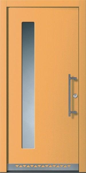 27 Haustür Orange Braun mit Glas und Silber