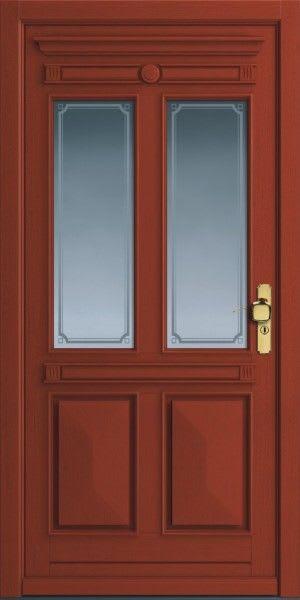 29 Haustür Rotbraun mit Glas und goldener Griff