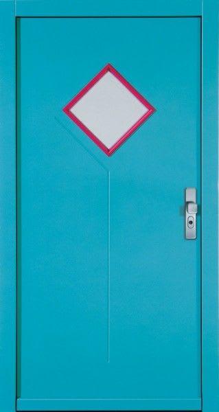 33 Hellblau mit Raute aus Glas und pinkem Rahmen