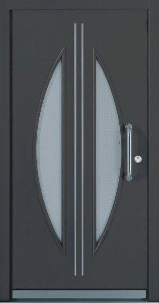 43 Dunkelgraue Tür mit Glas halb Rund zwei Striche