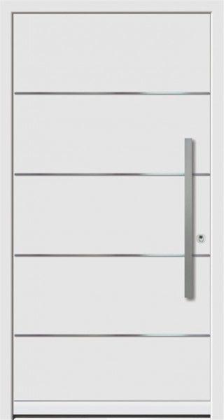 48 weiße Haustür mit silberenem Längs strichen