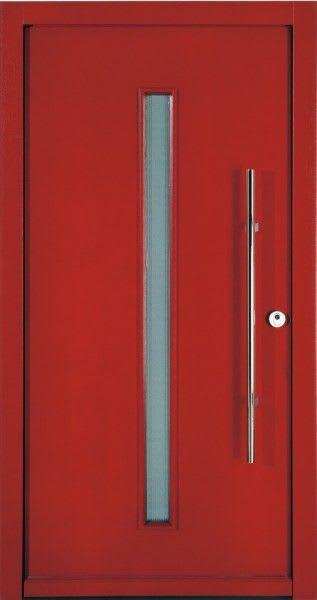 50 rote Haustür mit dünnem Glasbalken