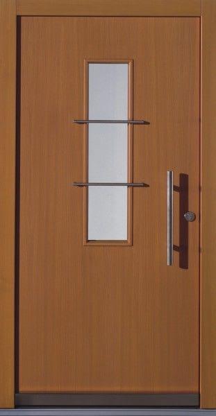 52 Haustür braun mit Glasbalken und längsem grauen Strich