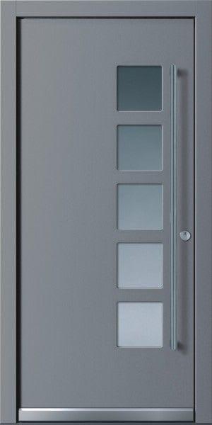 53 Haustür grau mit 6 viereckigem Glas