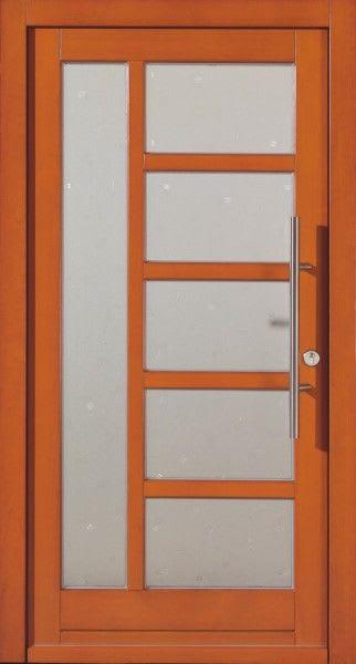 54 Haustür braun mit Glasteilen mit längs Türgriff
