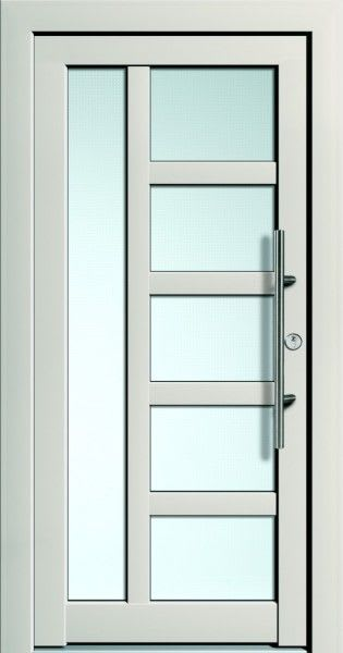 59 weiße Haustür mit Glaseinlagen