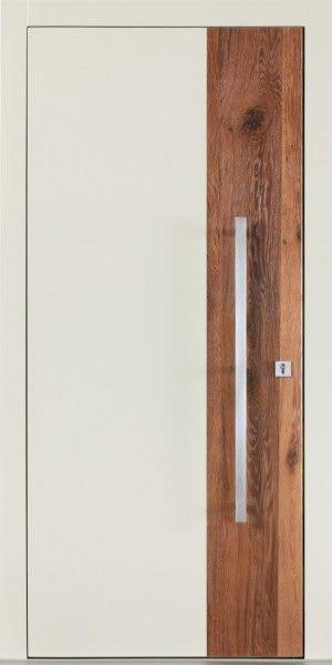 61 Haustür beige und Holz mit langem Türgriff
