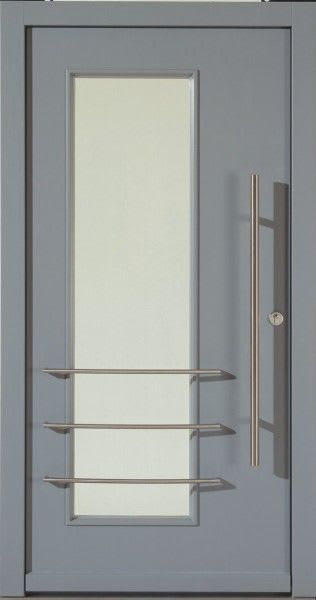 65 Haustür grau mit Glas Balken und silbernen Gittern