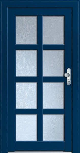 67 Haustür dunkelblau mit Glas