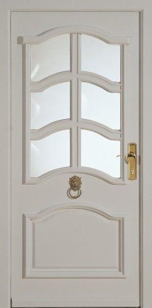 68 Haustür weiß mit Glas und goldenem Klopfring
