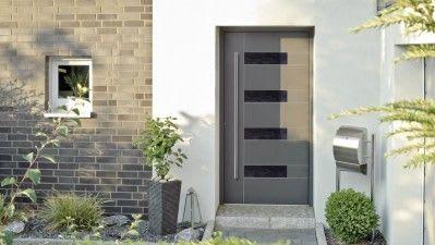 Graue Haustür mit Briefkasten Aluminium-Kunststoff Haustür