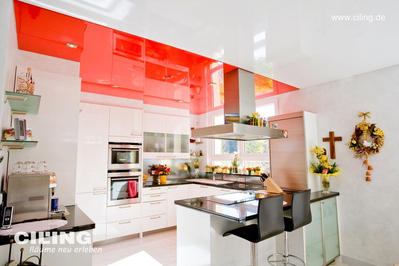 Spanndecke CILING rot weiß Küche