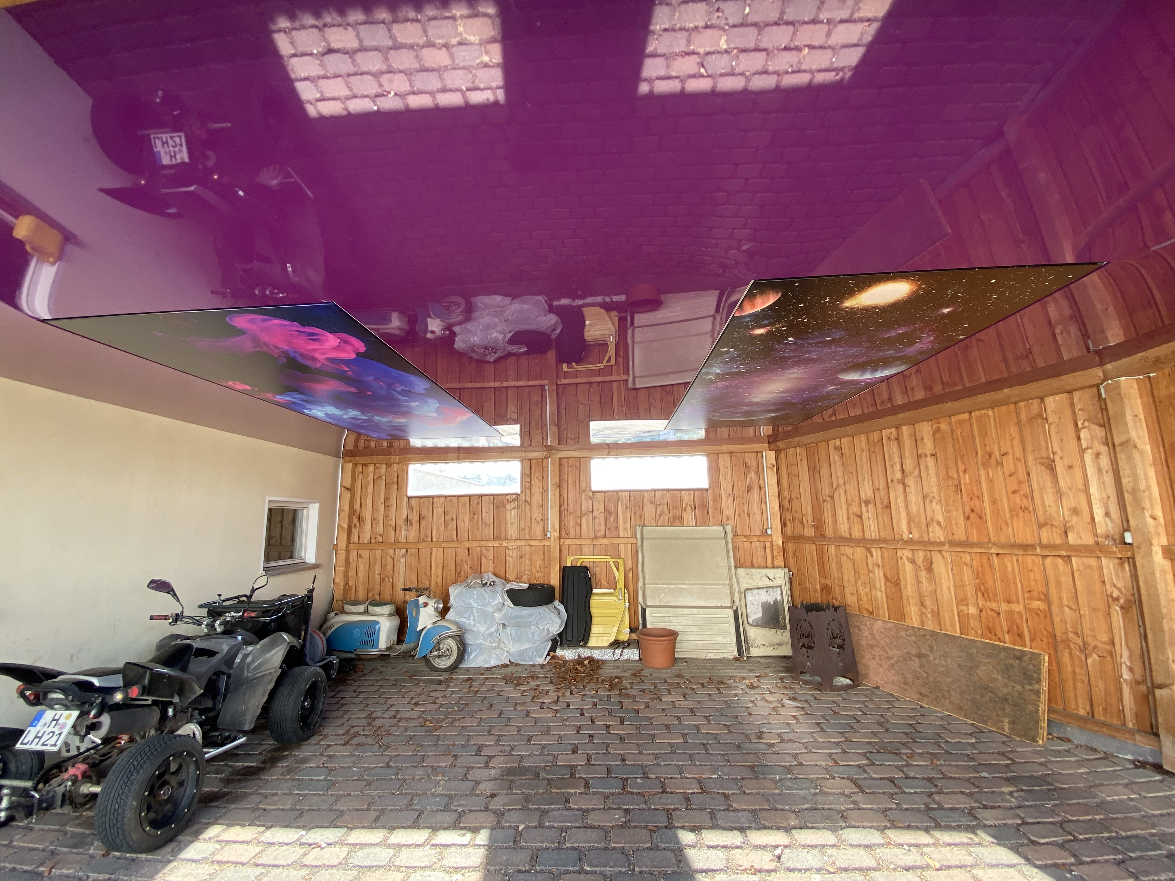 Spanndecke in der Garage