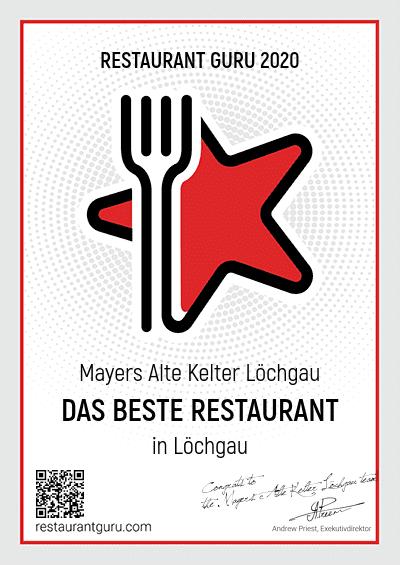 Restaurantguru Auszeichnung 2020
