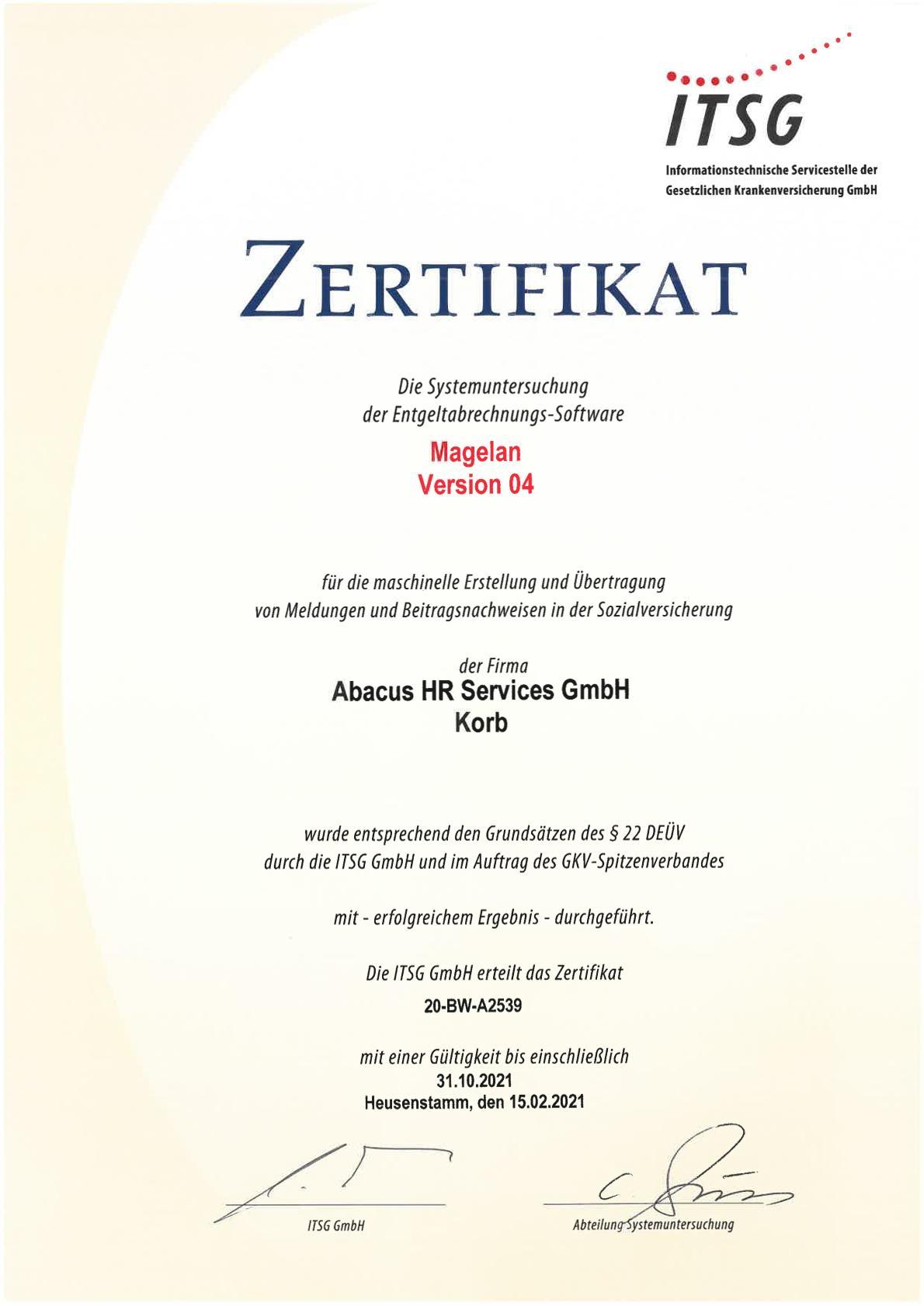 ITSG Zertifikat Abacus bis 2021