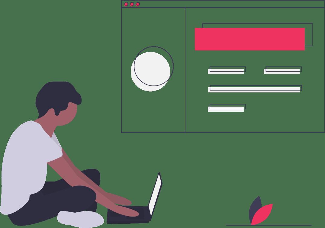 Web Developer sitzt neben Bildschirm mit abstrakter Website