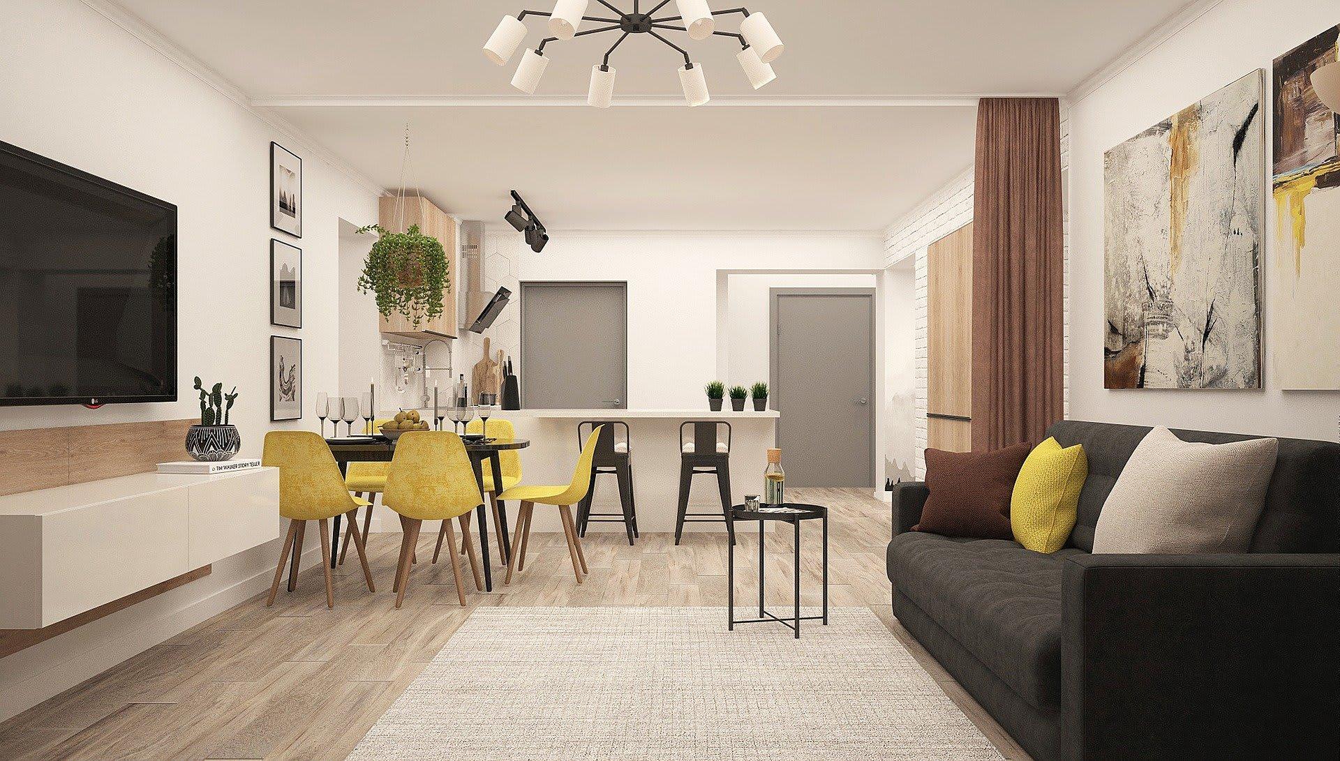 Das ist ein Bild mit Küfche und Wohnzimmer für das Titelbild Vermietung