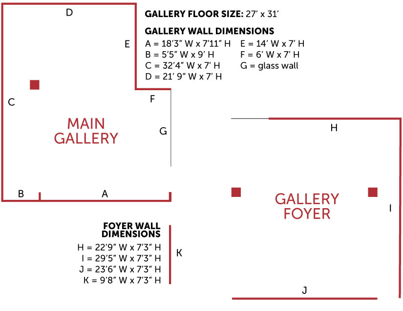 Gallery floor plan for the Beverly and Sam Ross Gallery
