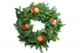 Decorated Noble fir wreath