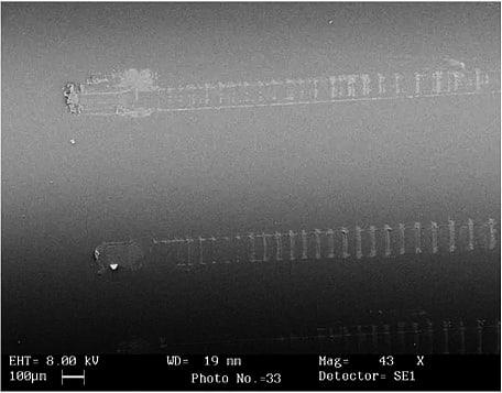 Micrografías electrónicas de una varilla de vidrio