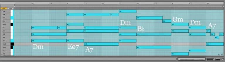 Variación 1 chacona Bach Ableton Live