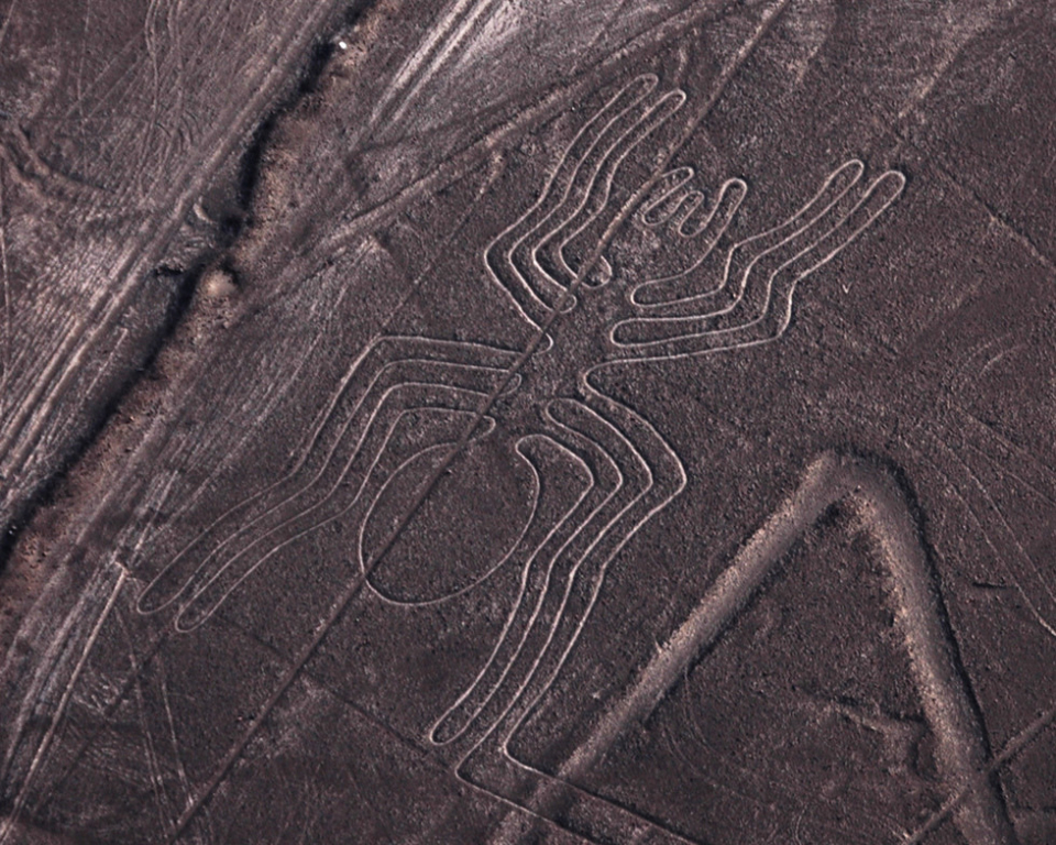 Nazca Lines: Giant ancient line art drawn in the Peruvian desert so large that it can only be fully seen from the sky
