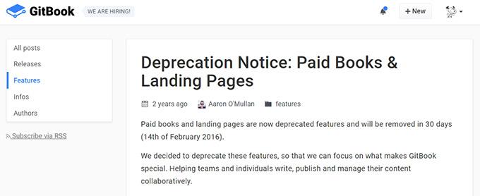 GitBook官網公告訊息表示取消付費功能