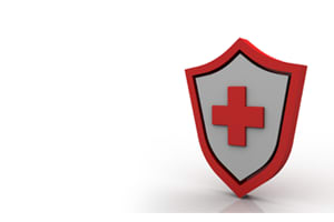 Shield with a cross protecting health records