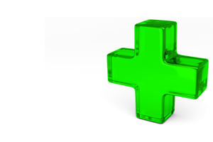 3d green translucent medical marijuana cross