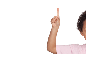 child student raising hand for privacy