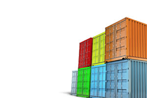 Stacked multicolored export shipping containers