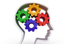 Head with multicolored gears as the brain