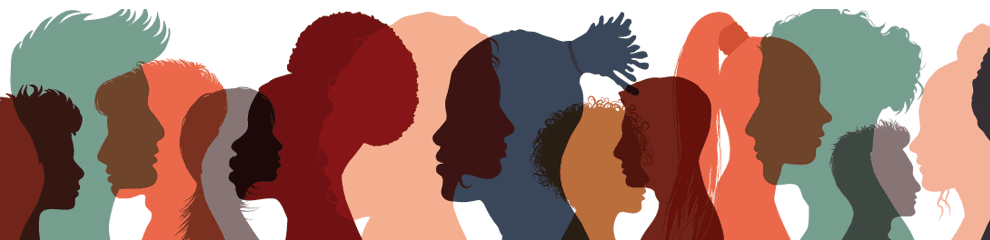 translucent head silhouettes of different races overlapping each other