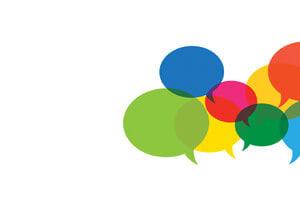 multi-colored speech bubbles overlapping