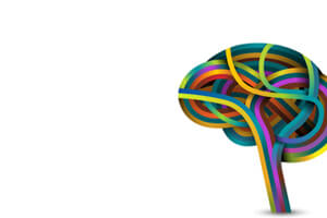 Many colored strands creating the shape of the human brain