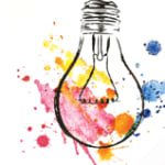 artistic sketch of lightbulb with multiple paint splashes