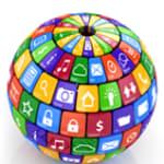 3d globe made of social media and app tiles
