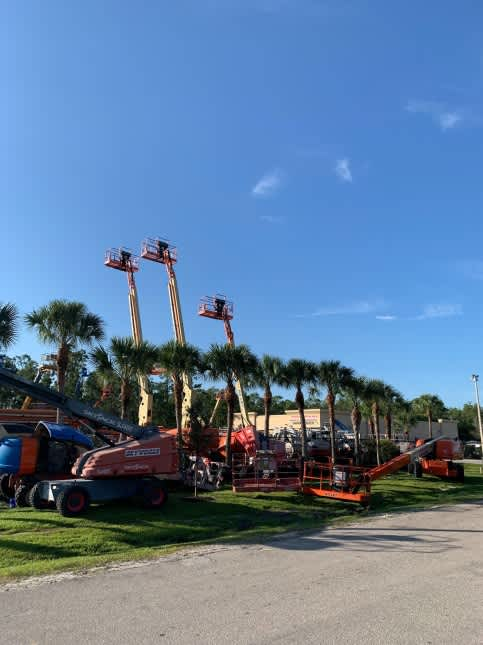 Three boomlifts reaching above palm trees