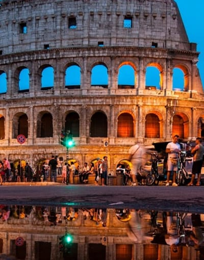 The Colleseum all lit up for a night tour of Rome