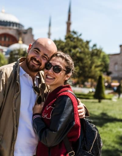 Couple on a tour of Istanbul with a private local tour guide