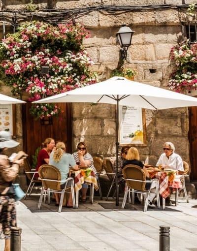 Locals enjoying typical al fresco dining in Madrid