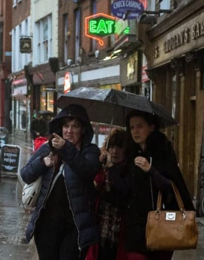 A typical street view of a rainy day in Dublin