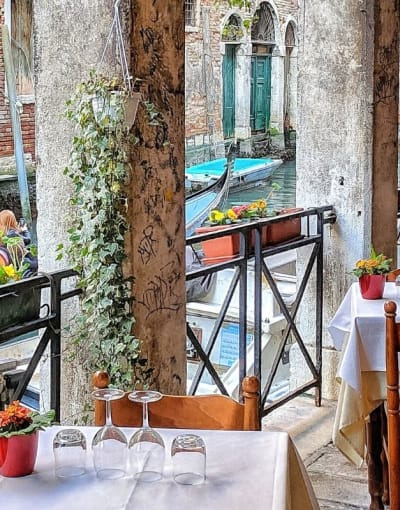 Typical canal-side restaurant in Venice
