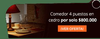Comedor 4 puestos en cedro por solo $800.000 - Artemuebles
