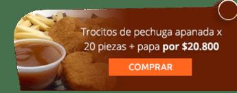 Trocitos de pechuga apanada x 20 piezas + papa por $20.800 - Buffalo's Pub