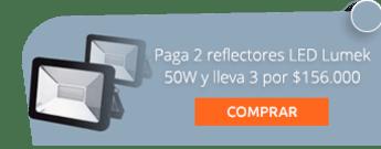 Paga 2 reflectores LED Lumek 50W y lleva 3 por $156.000 - Ahorra luz Suministro E Instalación De Bombillos Leds