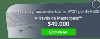 Teclado y mouse slim blanco WX01 por solo $59.000 - Einstein Tecnología